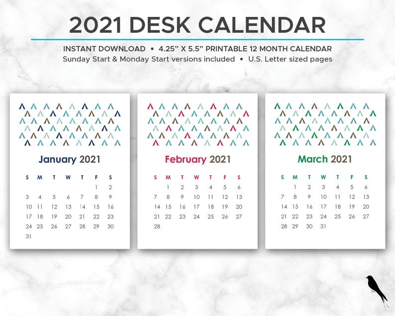 2021 Printable Desk Calendar Cute 12 Month Printable Etsy