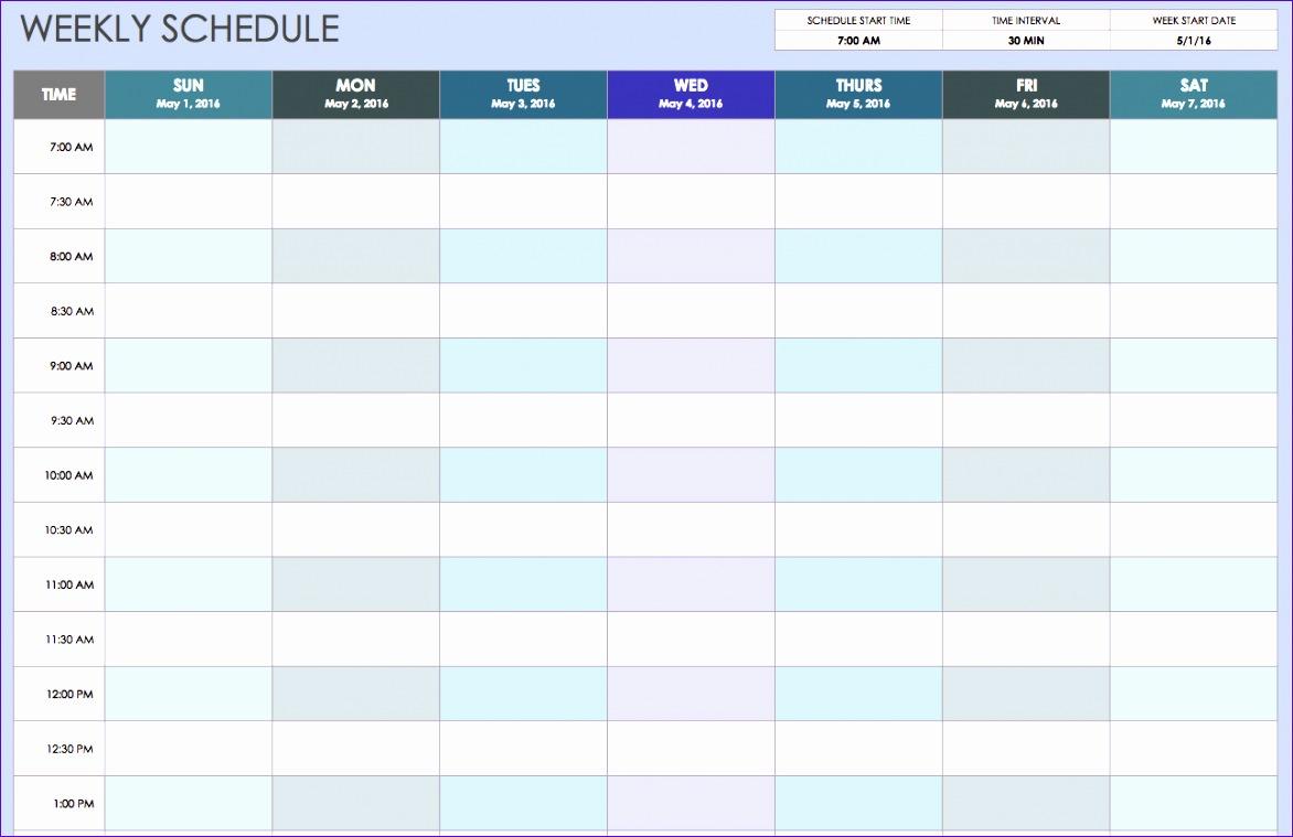10 One Week Calendar Template Excel Excel Templates