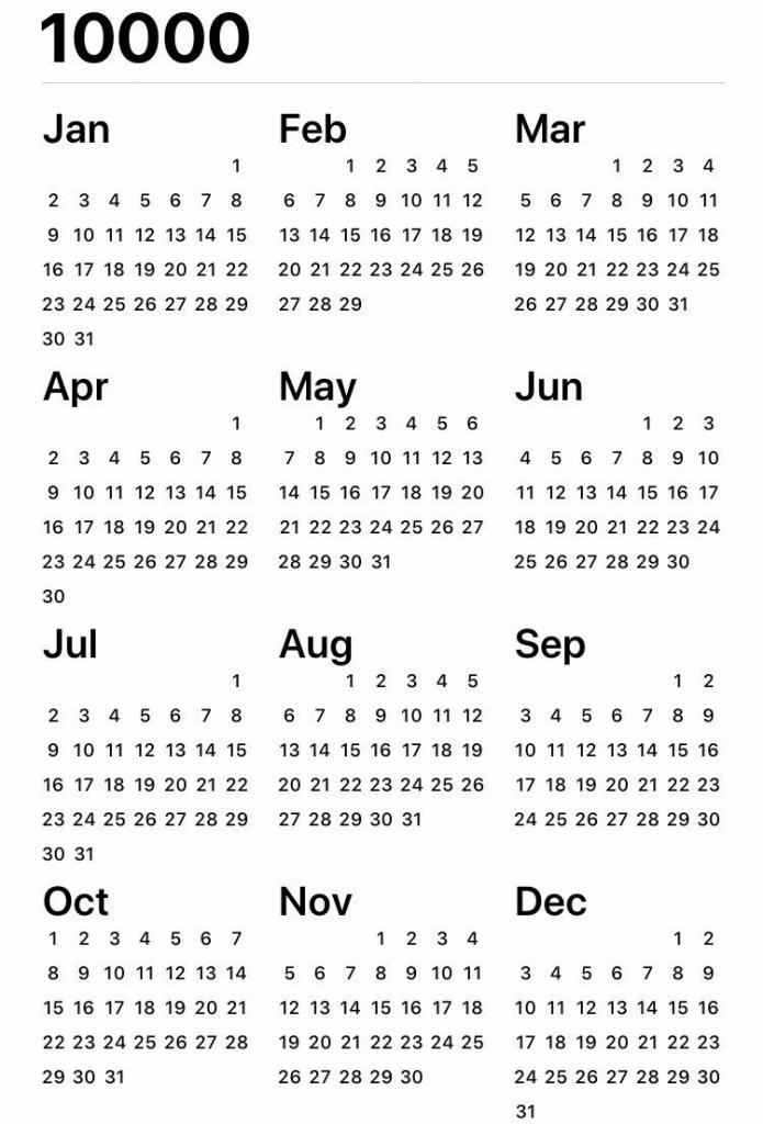 10000 Year Calendar Calendar Template 2020