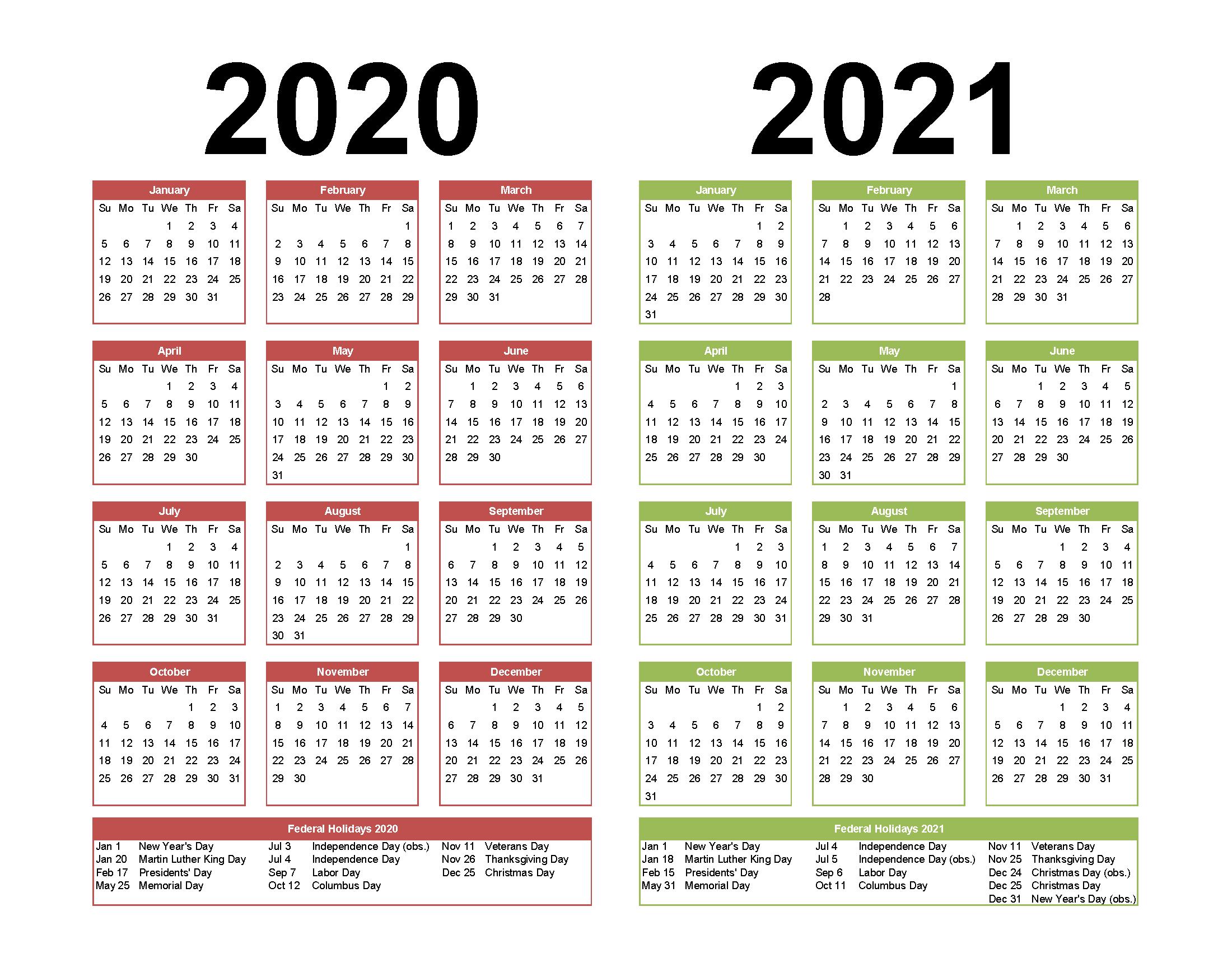 2 Year Calendar Printable 2020 2021 Word Pdf Image