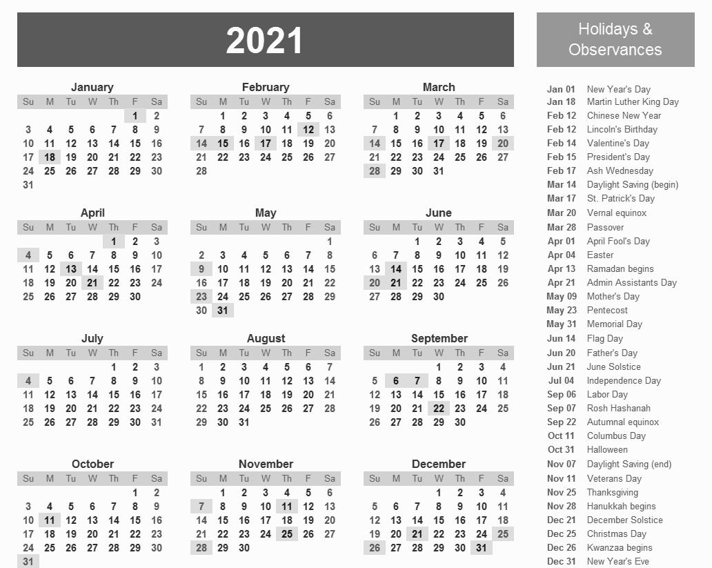 20 12 Month Calendar 2021 Excel Free Download Printable