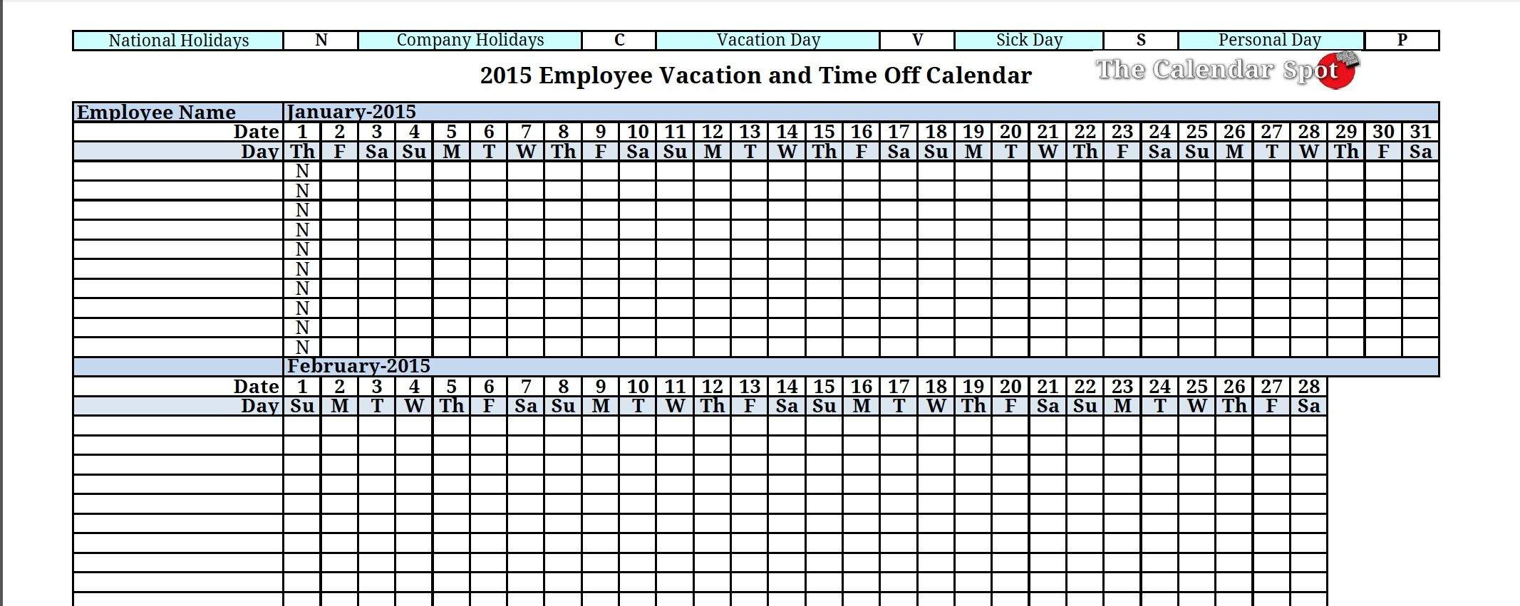 2015 employee vacation tracking calendar download the