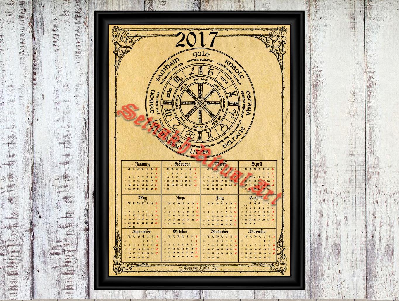 2017 Calendar With Wheel Of The Year Occult Calendar Pagan
