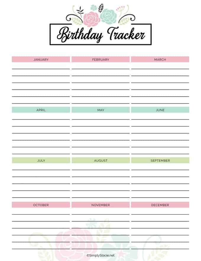 2019 Yearly Calendar Free Printable Birthday Tracker