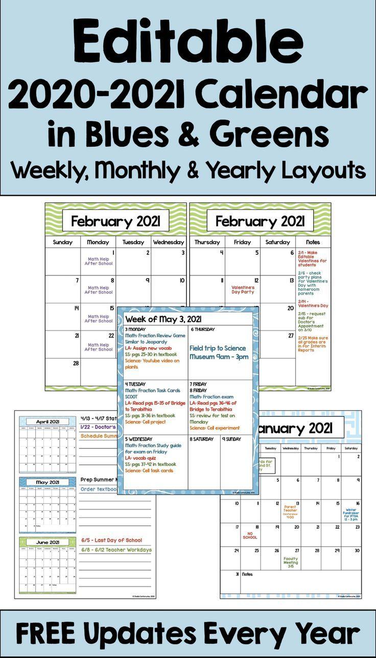 2020 2021 Calendar Printable And Editable With Free
