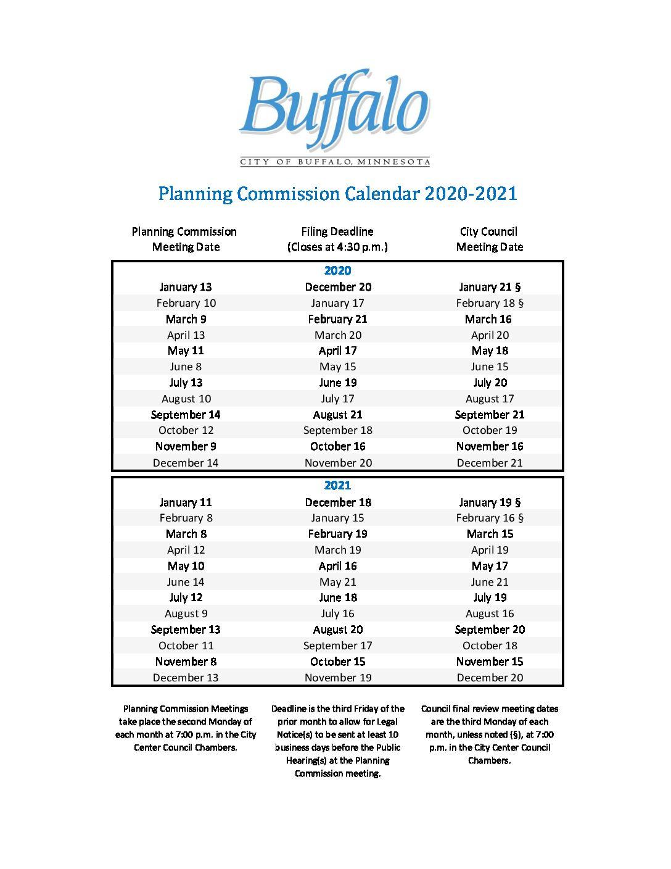 2020 2021 Planning Commission Calendar City Of Buffalo Mn