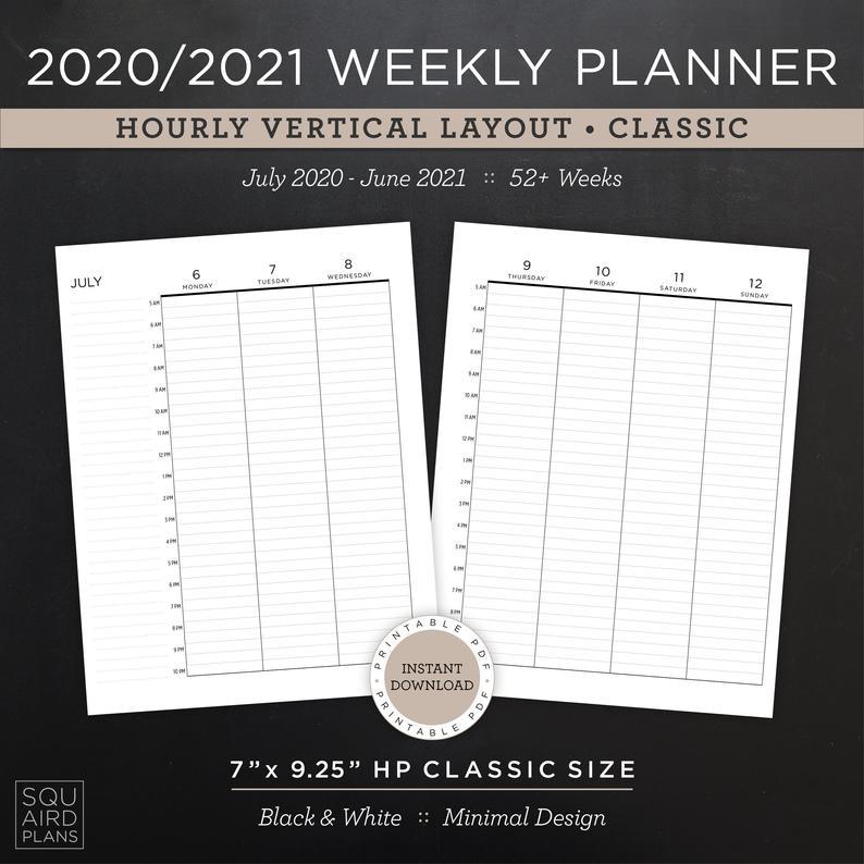 2020 2021 Weekly Planner Printable Hourly Vertical Layout