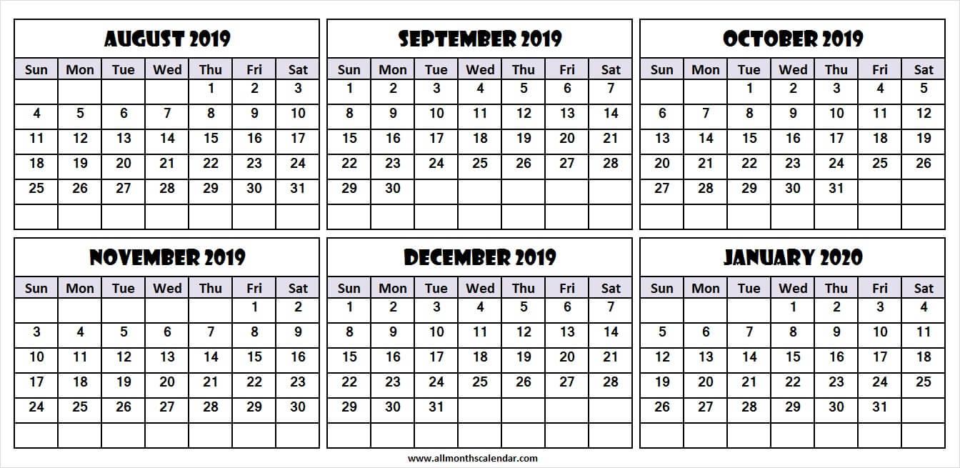 2020 6 Month Calendar Printable Example Calendar Printable