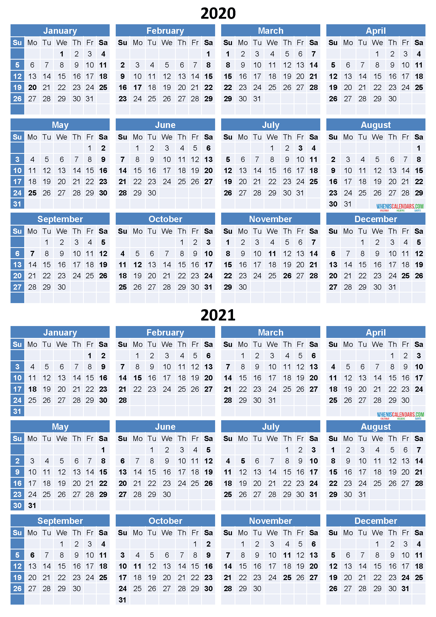2020 and 2021 calendar printable free download word pdf