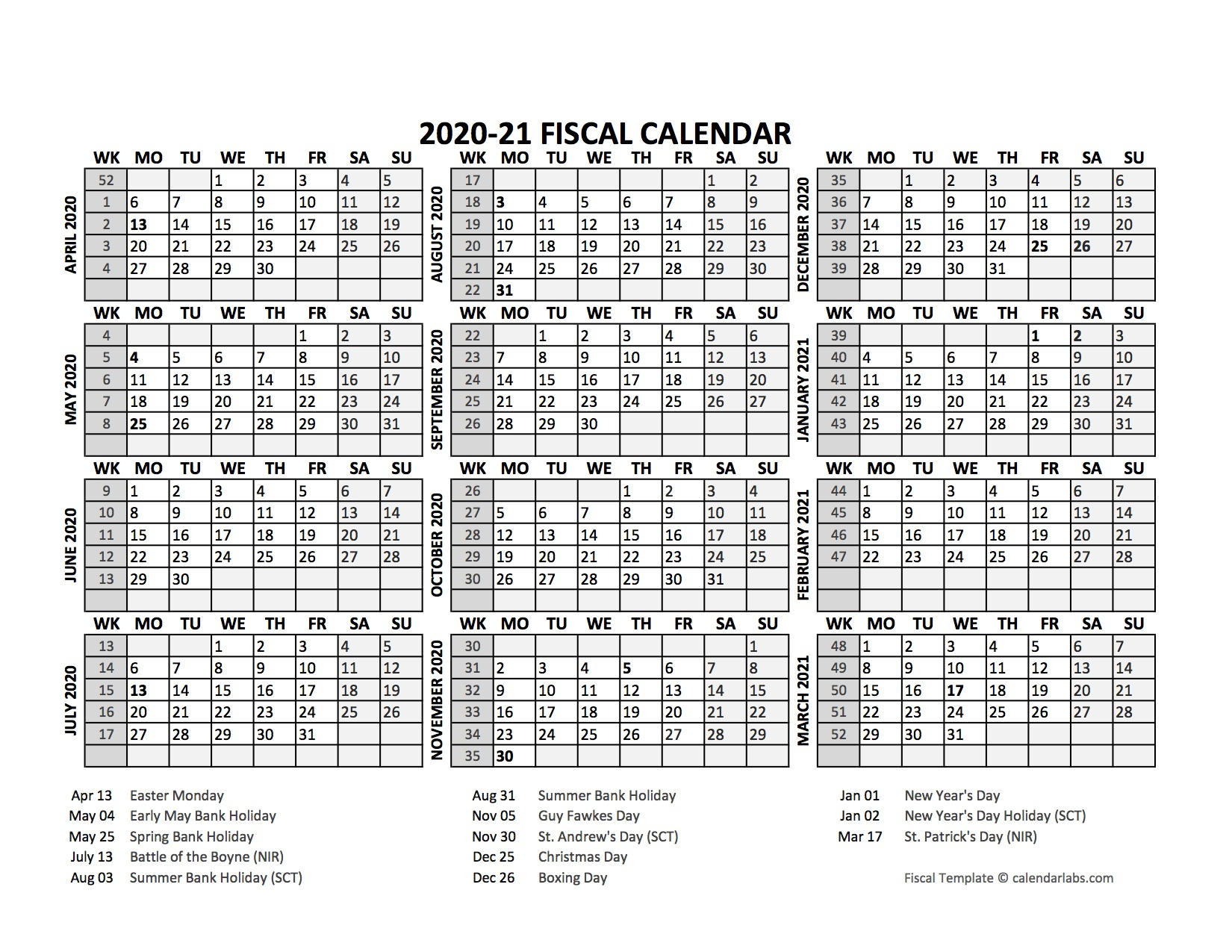 2020 Fiscal Calendar Template Starts At April Free