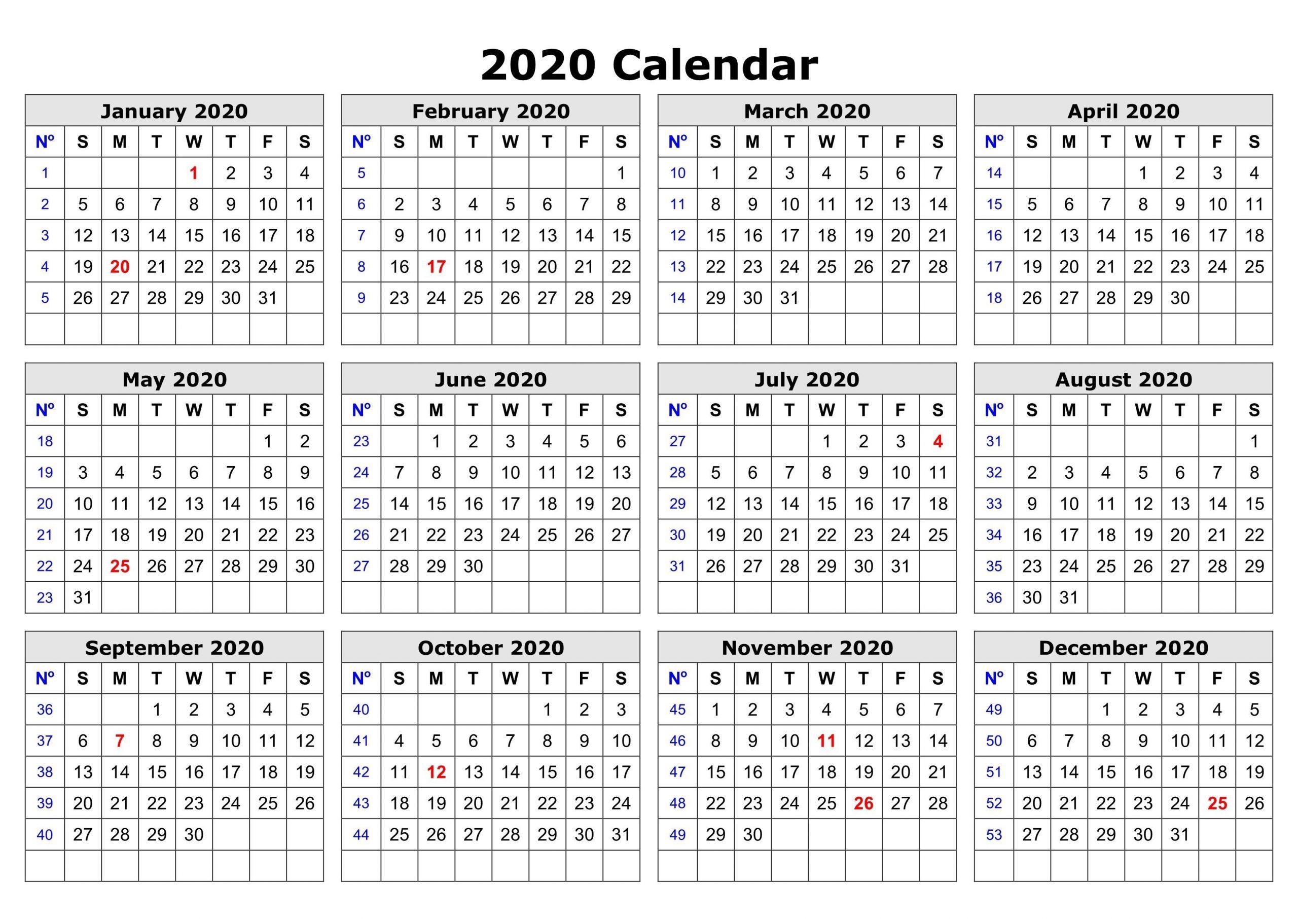 2020 One Page Calendar Printable Printable Calendar