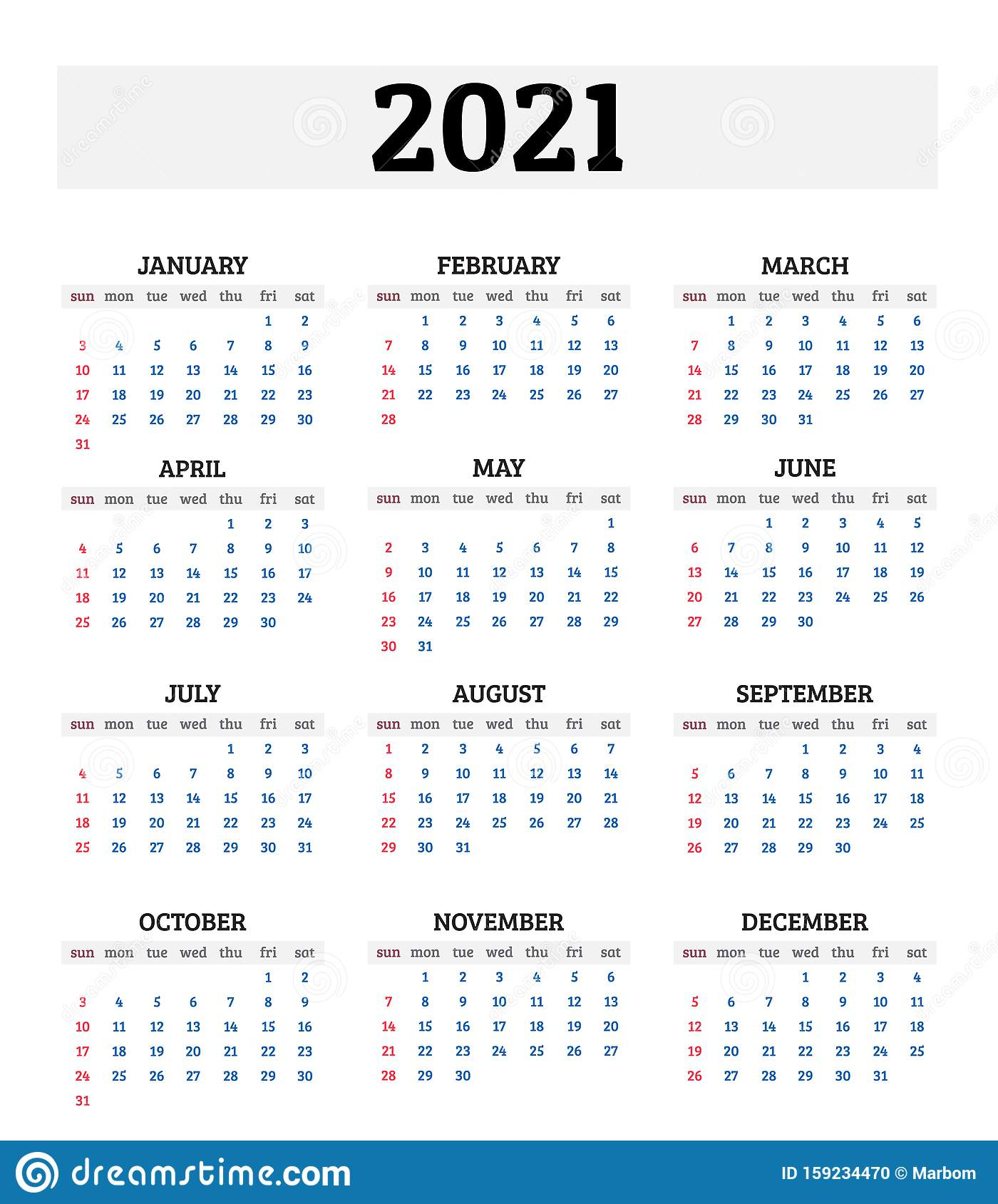2021 Annual Calendar Vector Illustration Stock Vector