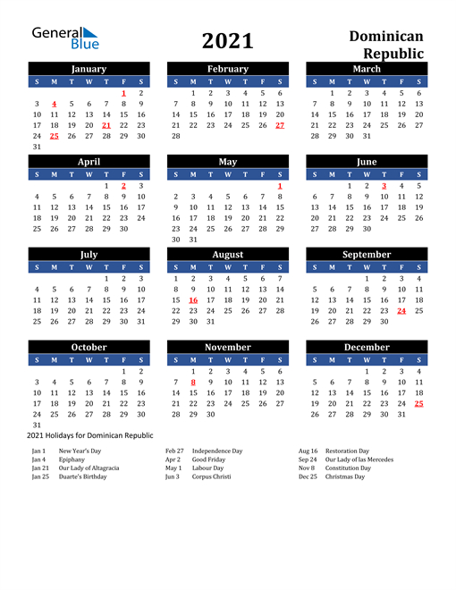 2021 Calendar Dominican Republic With Holidays