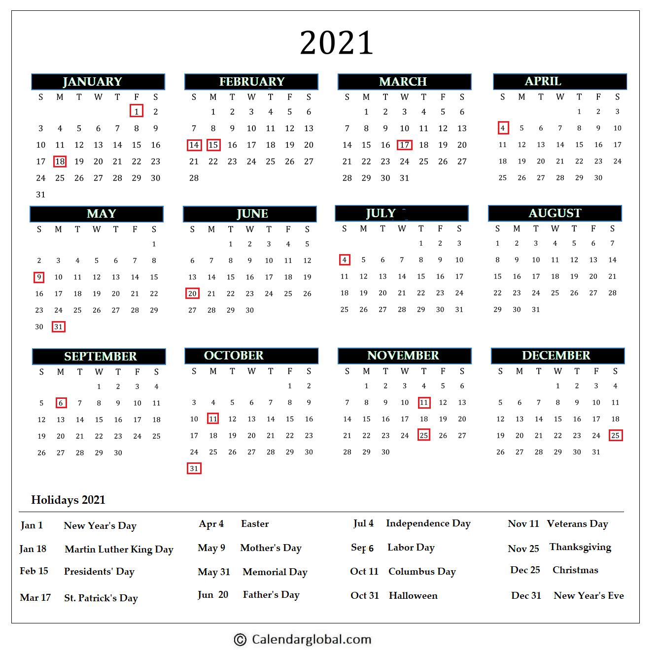 2021 Calendar Free Printable Yearly One Page Calendarglobal