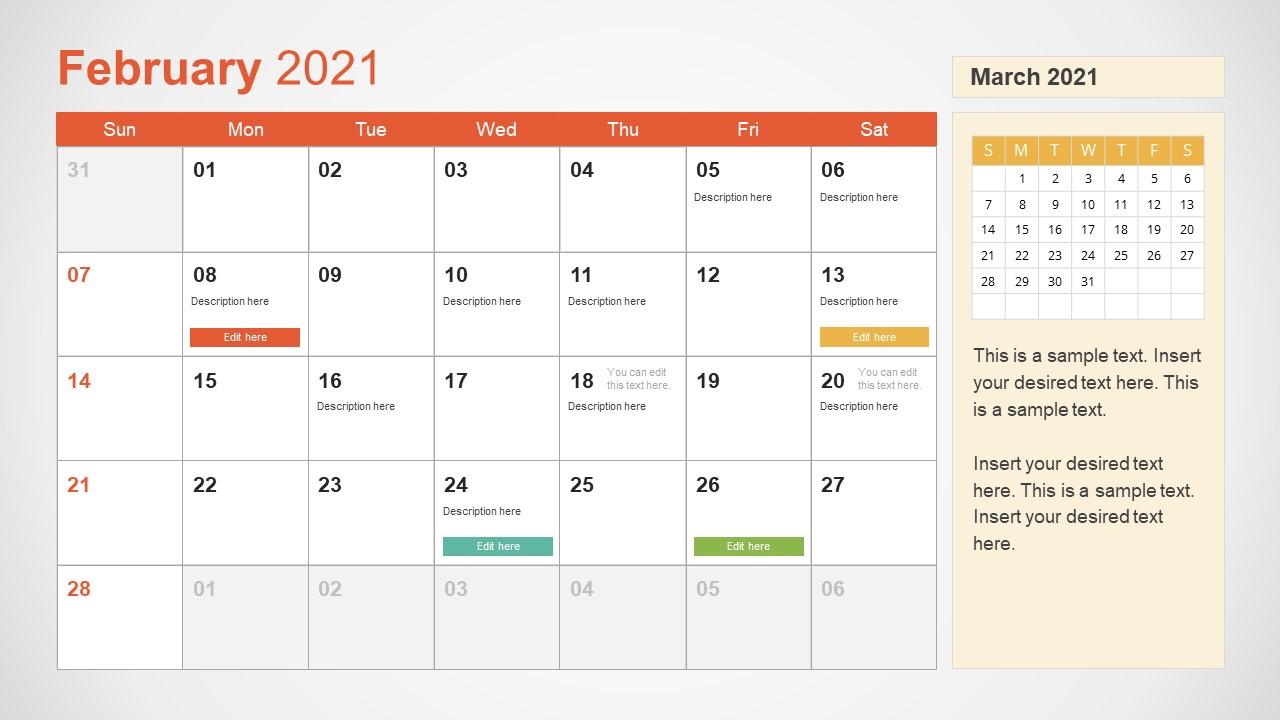 2021 Calendar Template February Powerpoint Slidemodel
