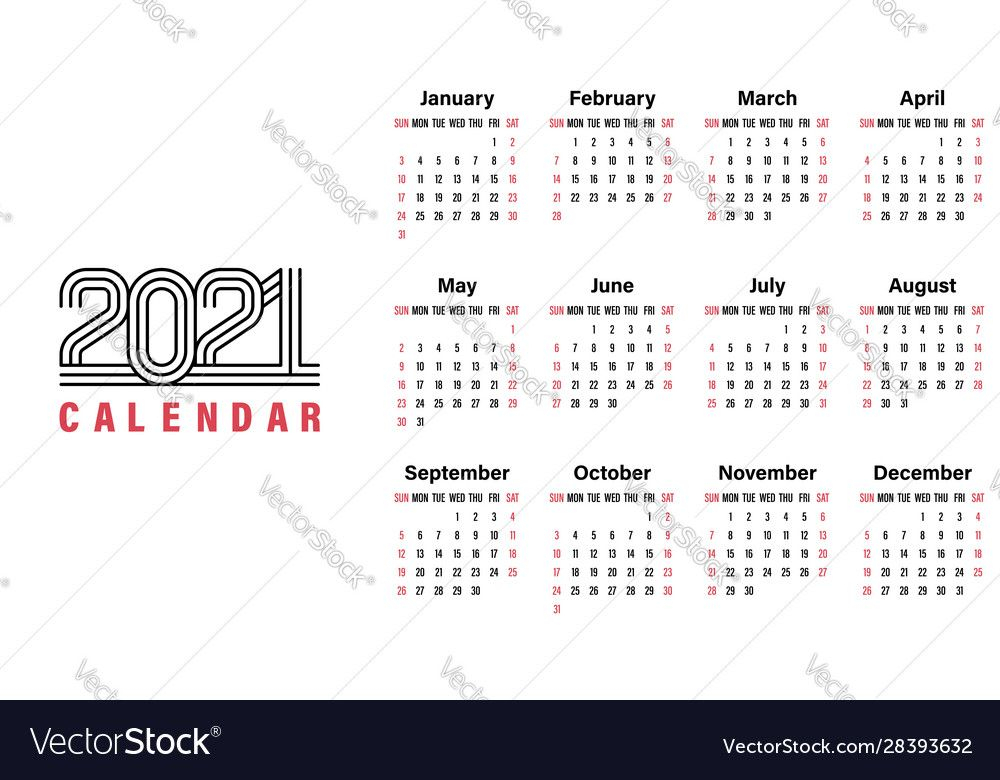 2021 Calendar Template Simple Design Royalty Free Vector