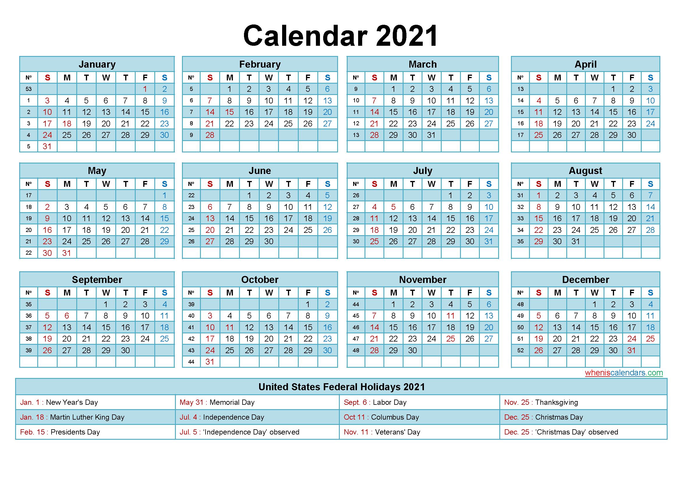 2021 Calendar With Holidays Printable Word Pdf Free
