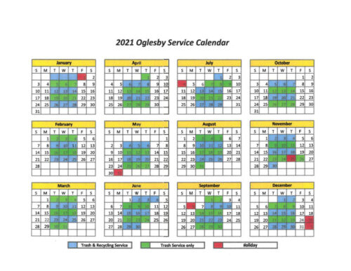 2021 Garbage Recycle Schedule City Of Oglesby