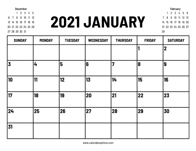2021 January Calendar Calendar Options