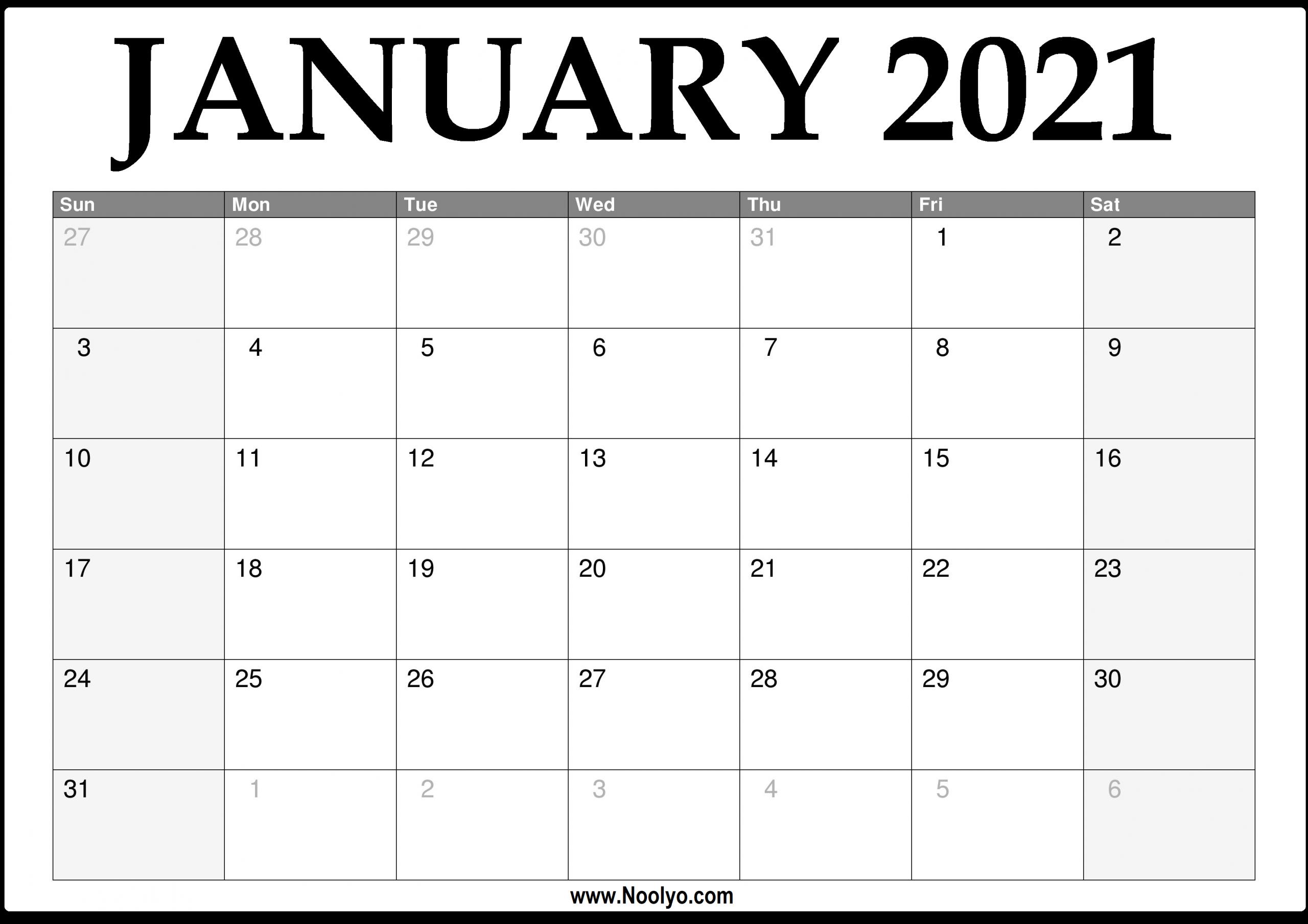 2021 January Calendar Printable Download Free Noolyo