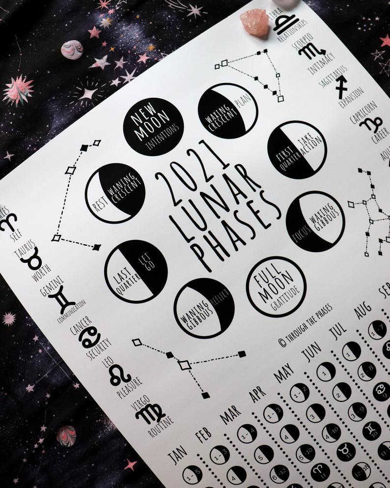 2021 Lunar Calendar Printable Moon Phase Calendar