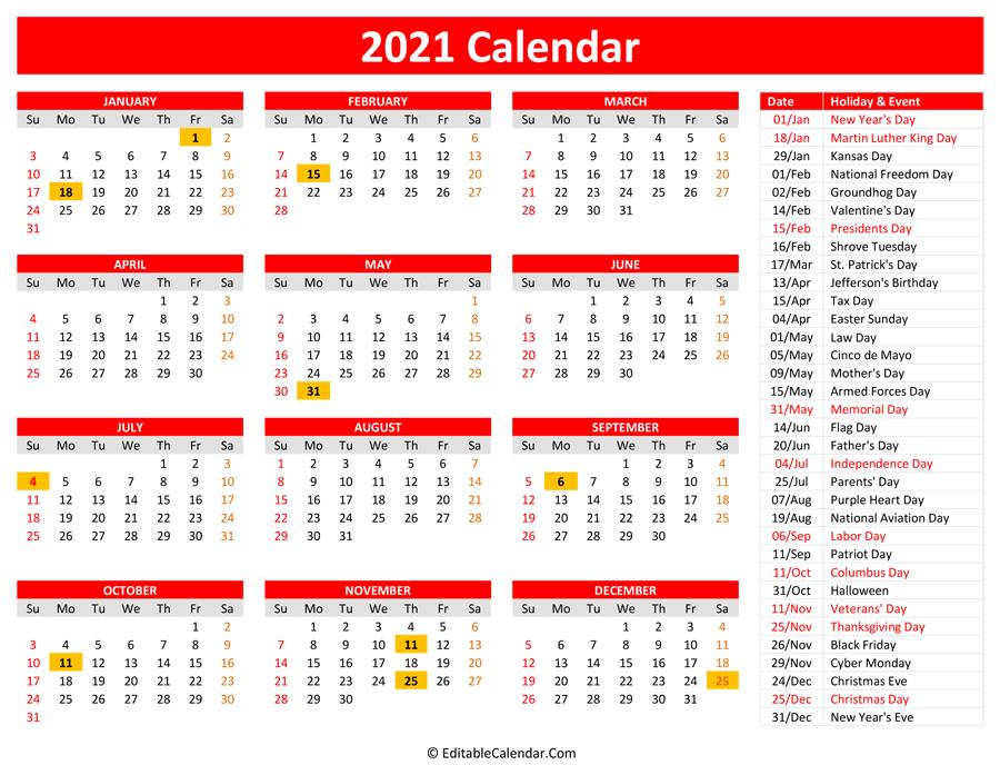 2021 Printable Calendar With Holidays 1