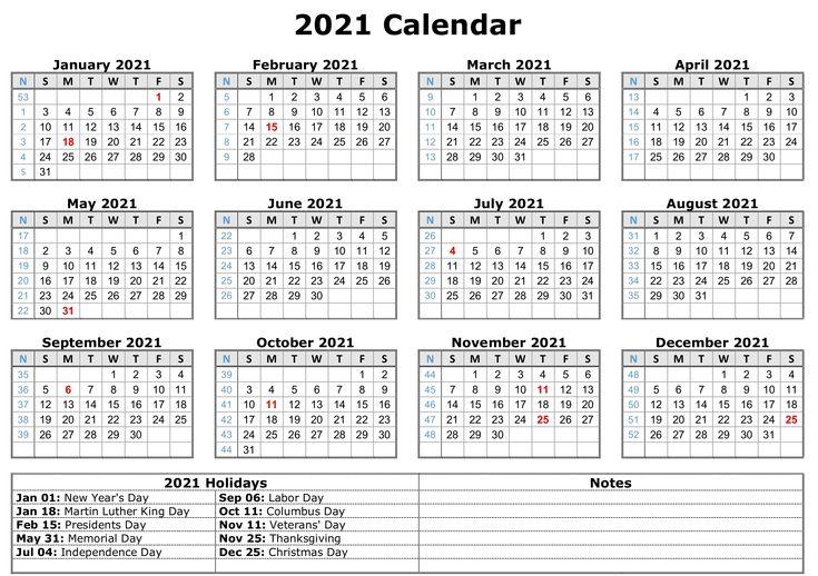 2021 Printable Calendar With Holidays Printable Yearly