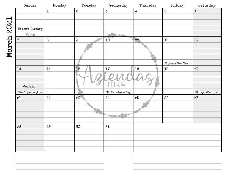 2021 Printable Monthly Calendar 12 Months Instant Download
