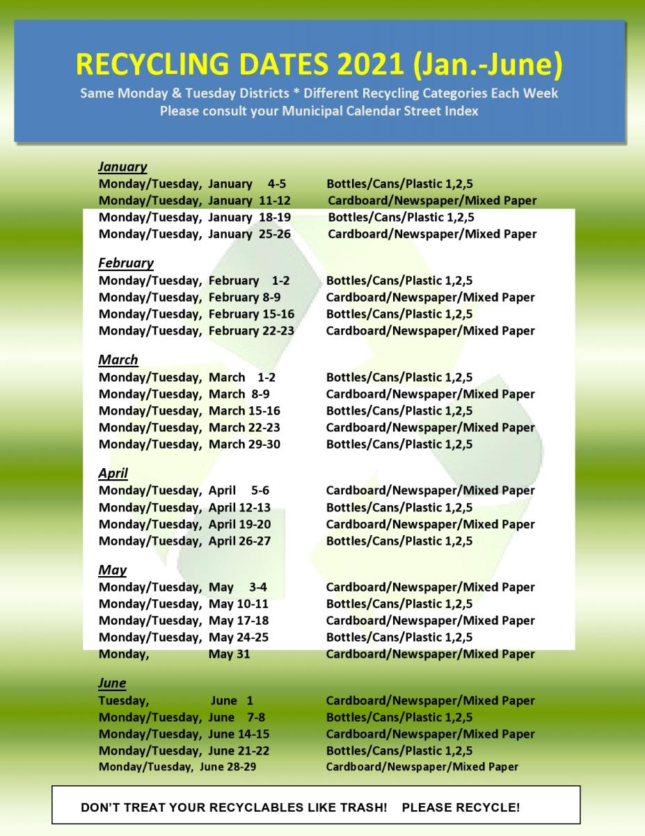 2021 Recycling Dates Categories Wyckoff Nj