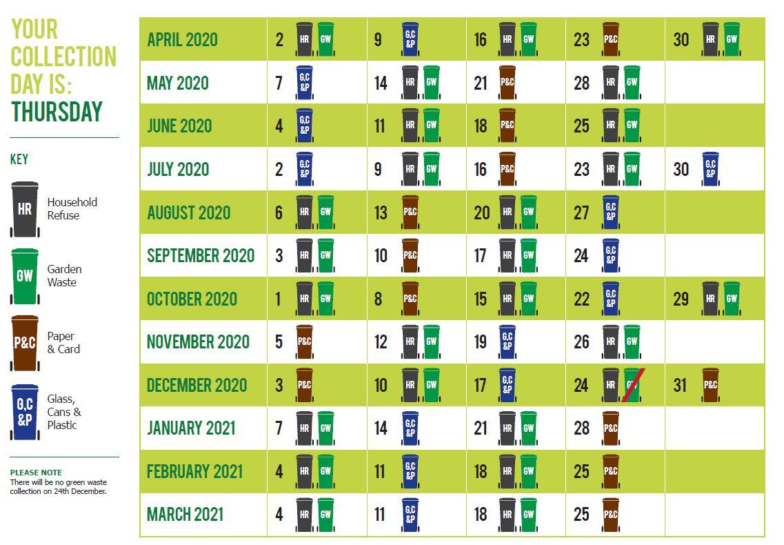 2021 Refuse Recycling Collection Calendar Calendar 2021