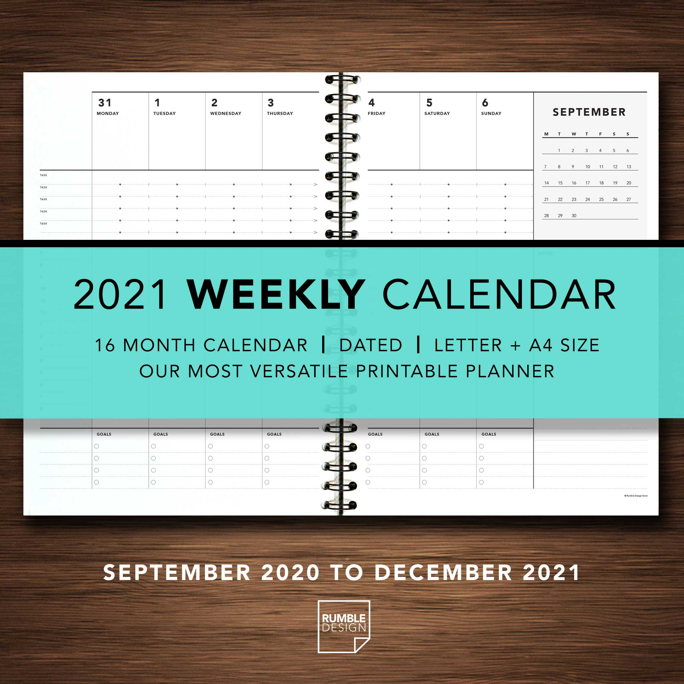 2021 Weekly Calendar Rumble Design Store