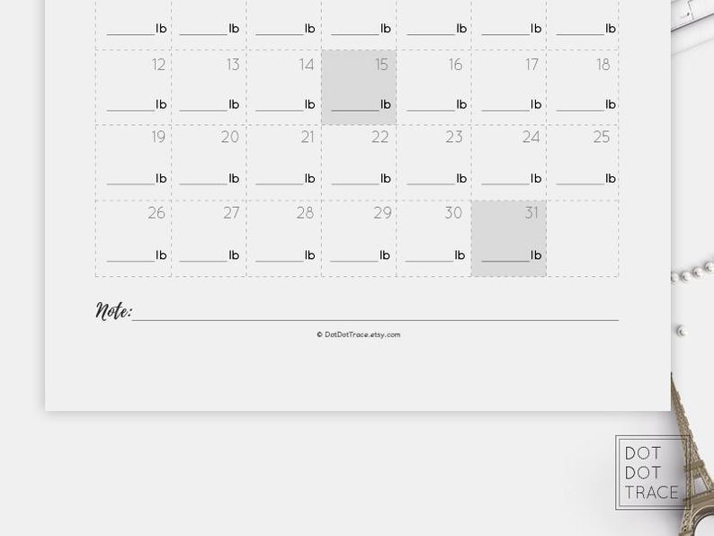 2021 Weight Loss Calendar 2021 Weight Loss Tracker Monthly