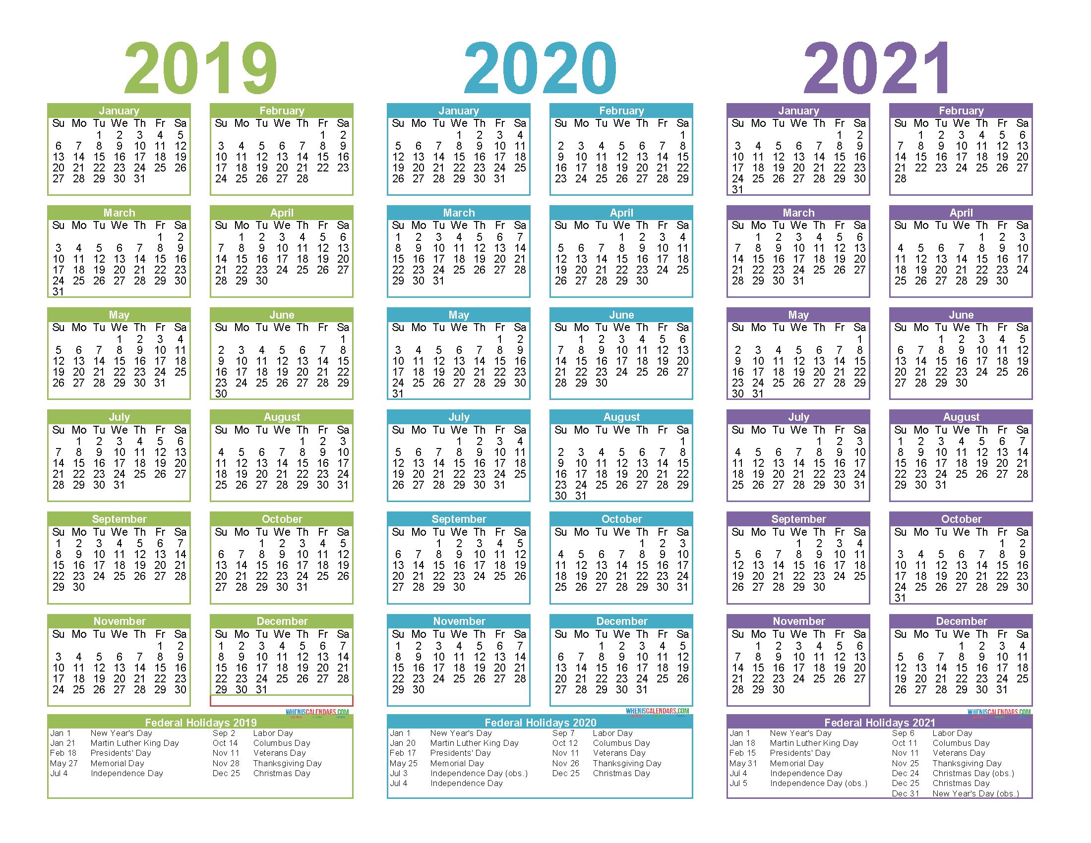 3 Year Calendar 2020 To 2020 Calendar Printables Free