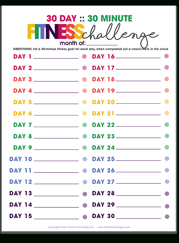 30 Day 30 Minute Fitness Challenge Free Printable 1