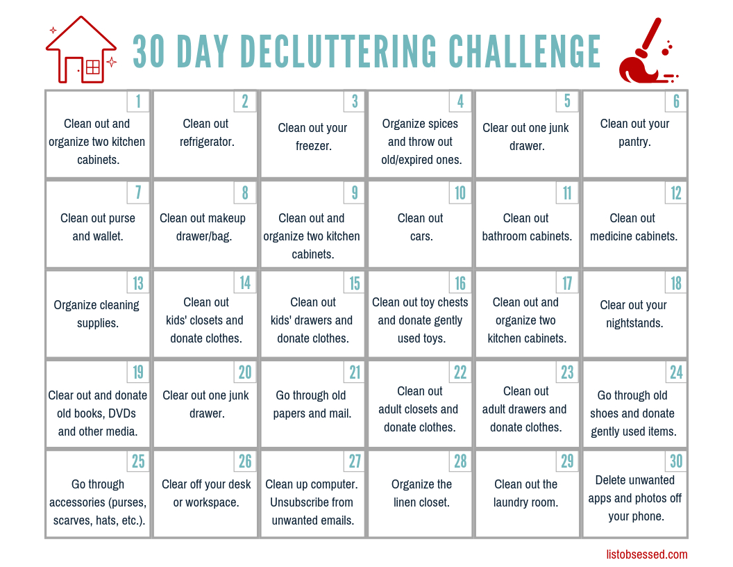 30 Day Declutter Challenge Free Printable Guide List