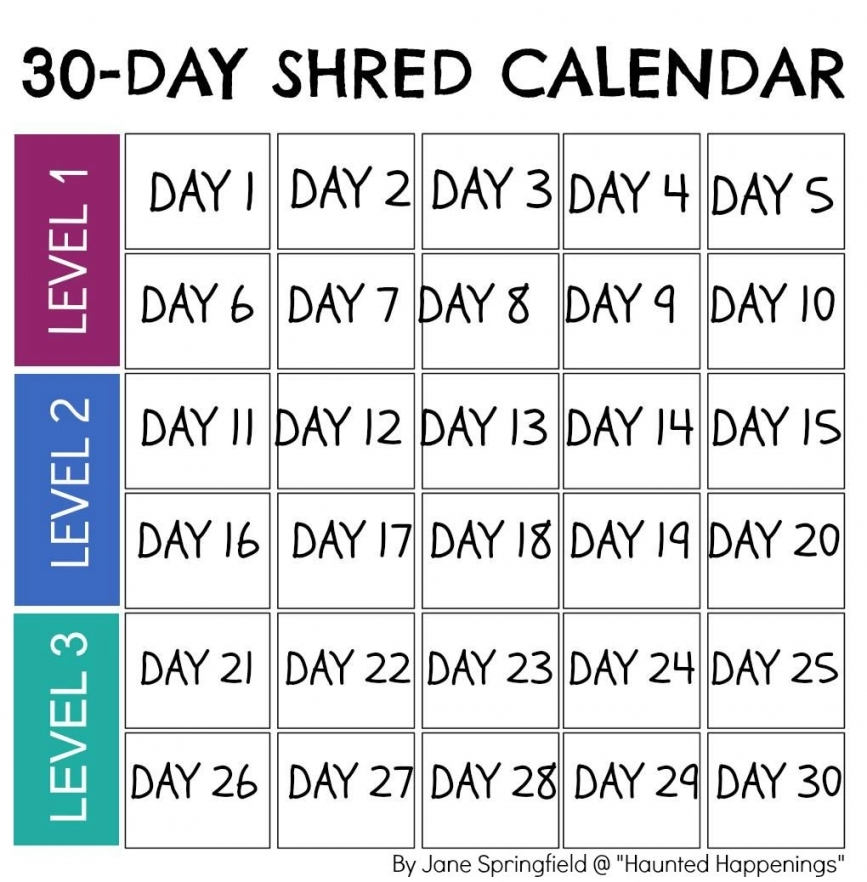 30 Day Shred Calendar Printable