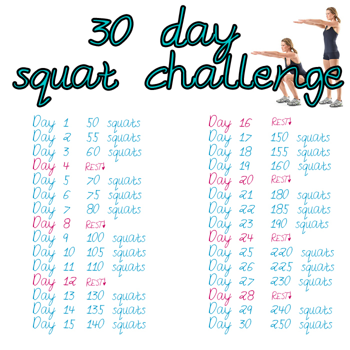 30 Day Squat Challenge Printable Calendar Calendar