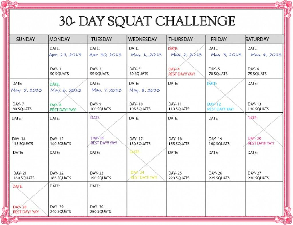 30 Days Squat Challenge Calendar Printable Calendar 2020