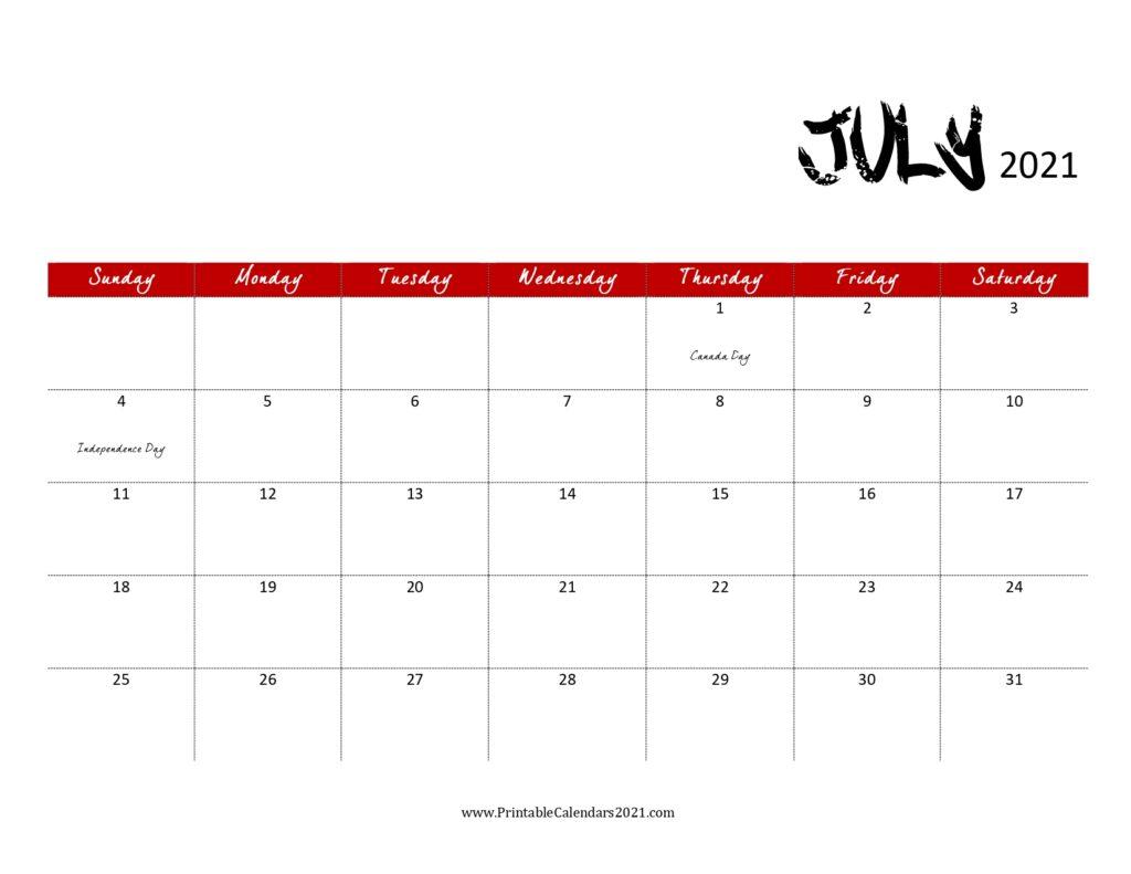 45 July 2021 Calendar Printable July 2021 Calendar Pdf