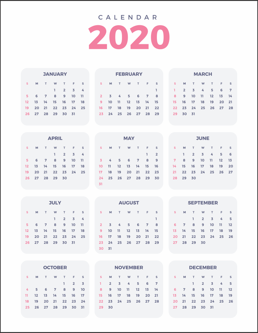 5 Best Images Of 2020 Yearly Calendar Free Printable