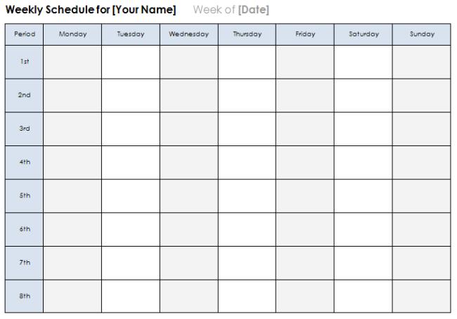 6 Best Weekly Calendar Templates Plan Daily Or Weekly Tasks