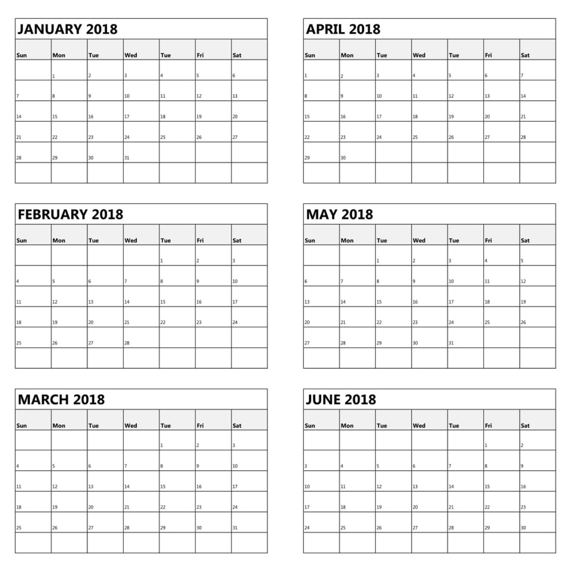 6 Monthly Calendar Calendar Printable Week