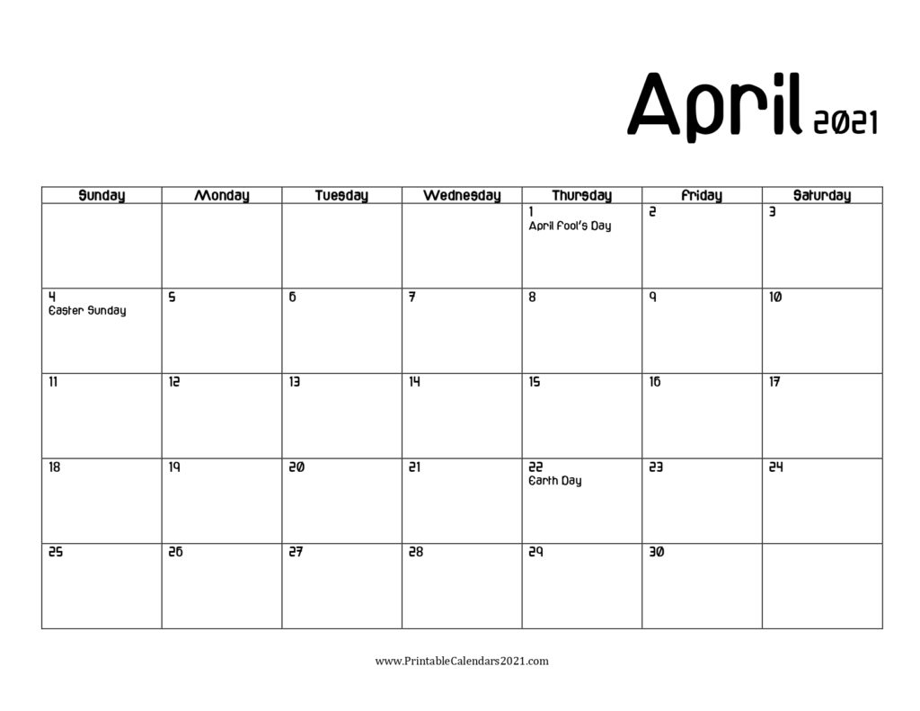 65 April 2021 Calendar Printable With Holidays Blank