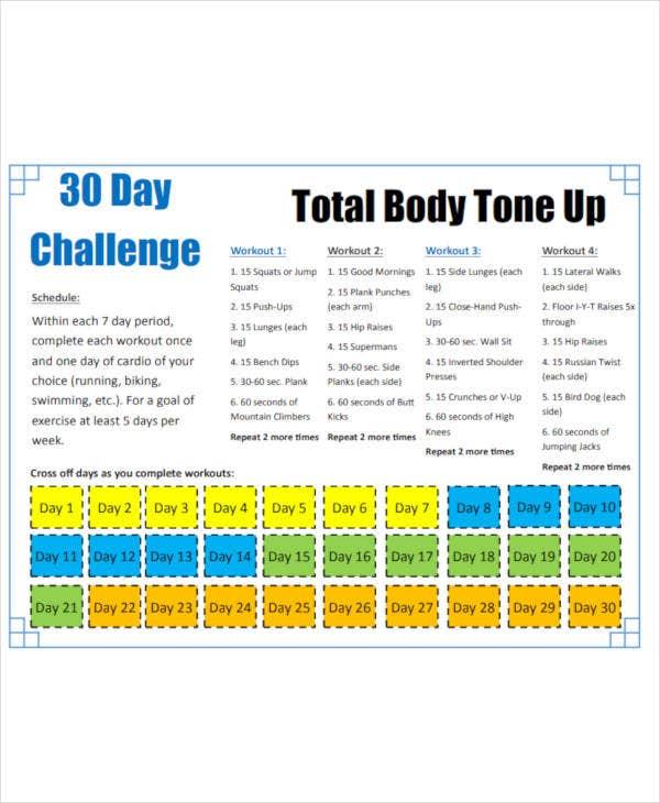 9 30 Day Workout Plan Templates Pdf Word Free