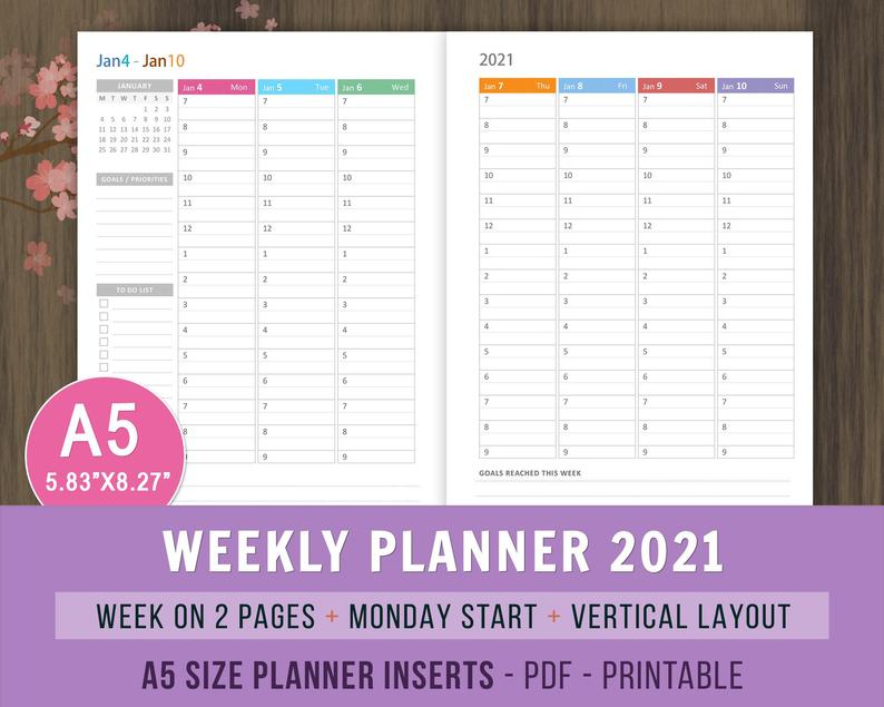 A5 Planner Inserts Weekly Hourly Planner 2021 Printable Etsy