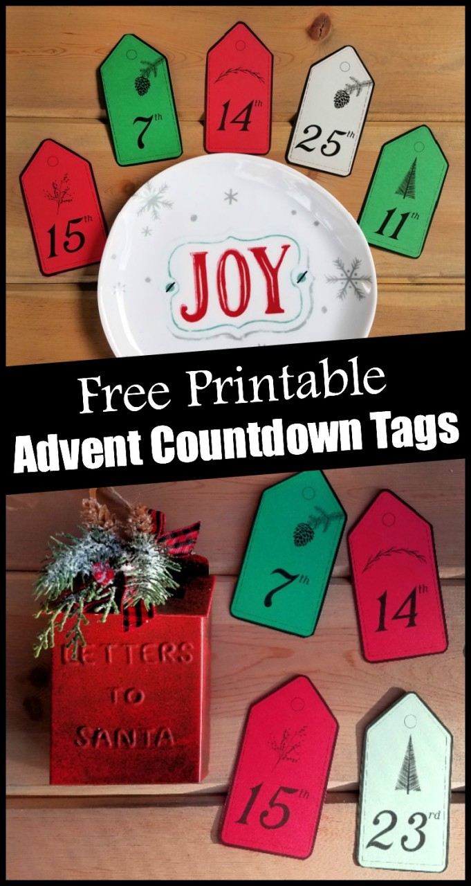 Advent Calendar Numbers Free Printable Countdown Tags