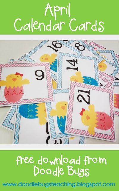 April Calendar Cards Free Printable Preschool Calendar