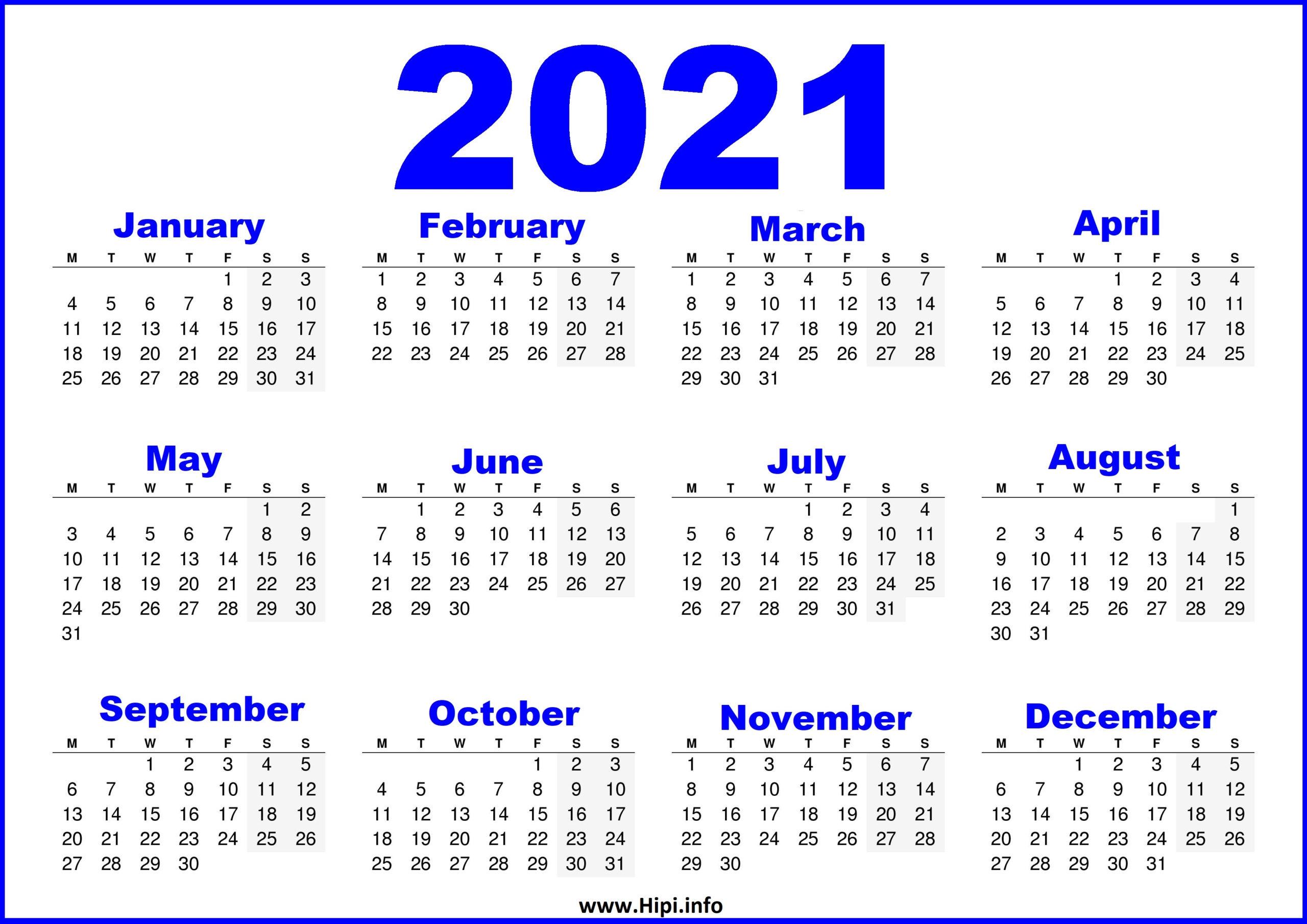 Array Printable Calendar 2021