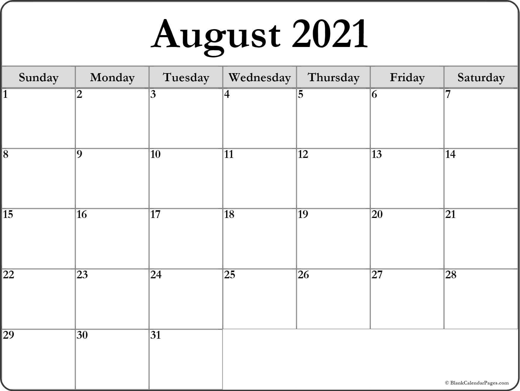 August 2021 Blank Calendar Templates