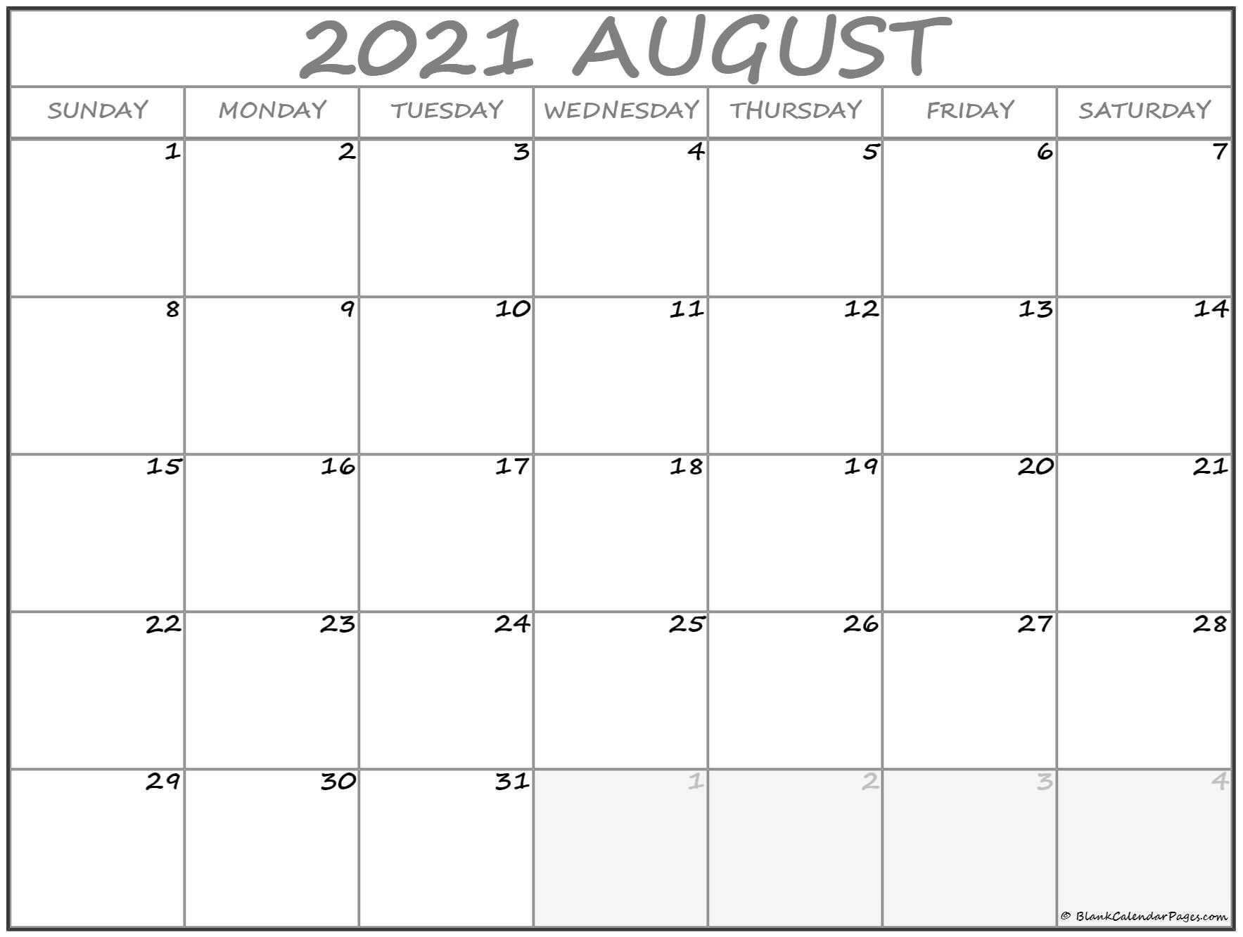 August 2021 Calendar Free Printable Monthly Calendars